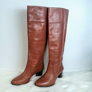 J Crew Cognac Brown Leather Knee High Heeled Boots